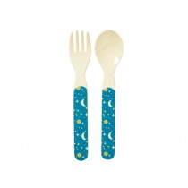 RICE kids spoon and fork universe print blue