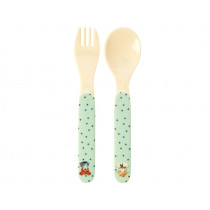 RICE Kids Spoon and Fork FARM ANIMALS green
