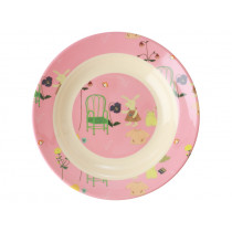 RICE Melamine Kids Bowl BUNNY pink