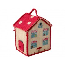 RICE Kids House Shaped Raffia Bag