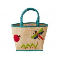 Natural RICE raffia bag with insects