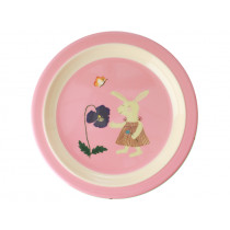 RICE Melamine Kids Plate BUNNY pink