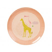 RICE kids melamine plate animal print girl
