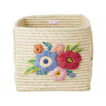 RICE Square Raffia Basket EMBROIDERED FLOWERS natural
