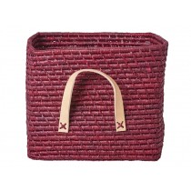 RICE Raffia Basket with Leather Handles Plum