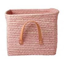 RICE basket leather handles soft pink