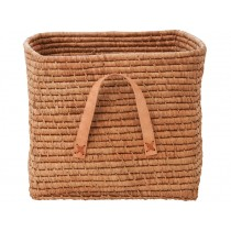 RICE basket tea colour leather handles