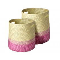 RICE Seagrass Storage Basket PINK