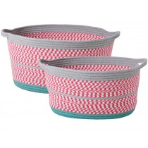 RICE basket oval pink grey