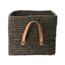 RICE Raffia Basket with Leather Handles dark grey
