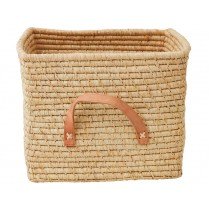 RICE basket in natural with leather handles