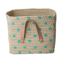 RICE Raffia Basket with GREEN DOTS