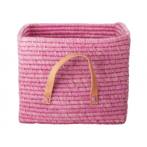 RICE Raffia Basket with Leather Handles Rose