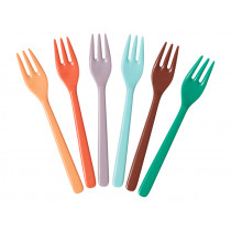 RICE 6 Melamine Cake Forks FOLLOW THE CALL OF THE DISCO BALL