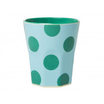 RICE Melamine Cup MINT with green dots Jumbo