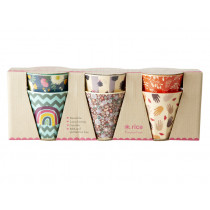 RICE 6 Small Melamine Cups FOLLOW THE CALL OF THE DISCO BALL Prints