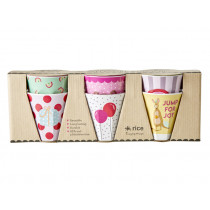 RICE 6 Small Melamine Cups ANIMAL PARTY pink