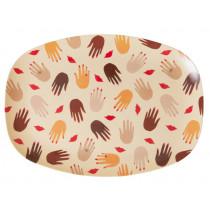 RICE Melamine Rectangular Plate HANDS & KISSES
