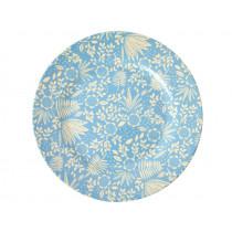 RICE Melamine Side Plate FERNS & FLOWERS light blue