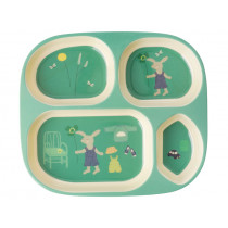 RICE Melamine Kids Divided Plate BUNNY green