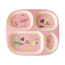 RICE Melamine Kids Divided Plate BUNNY pink