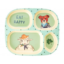 RICE 4 Room Plate FARM ANIMALS green