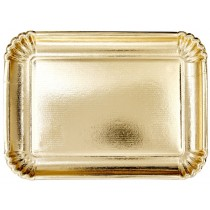 RICE 4 large Paper Serving Dishes gold RECTANGULAR