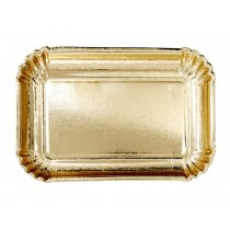 RICE 6 small Party Paper Plates gold RECTANGULAR