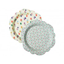 RICE paper plates flower shape with dots & flowers