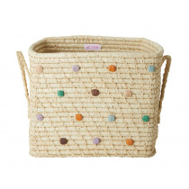 RICE Raffia Basket with dots FOLLOW THE CALL OF THE DISCO BALL