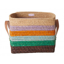 RICE Raffia Basket with Leather Handles and stripes FOLLOW THE CALL OF THE DISCO BALL