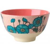 RICE Melamine Bowl with Blue Poppy small