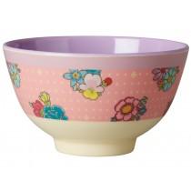 Small RICE melamine bowl flower stitch