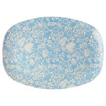 RICE Melamine Rectangular Plate FERNS & FLOWERS light blue