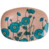 RICE Melamine Plate with Blue Poppy