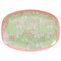 RICE melamine plate butterfly and flower print