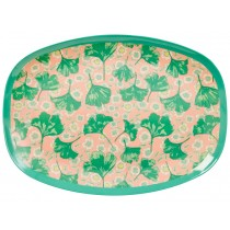 RICE melamine plate gingko and flower print