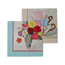RICE Napkins FLOWERS & CUPS