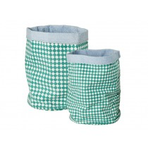 RICE Kids storage basket set in green checks