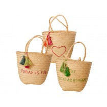 RICE Natural Beach Bag with Embroidery and Tassels