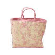RICE raffia bag EMBROIDERY PINK