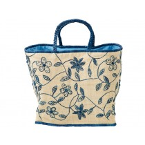 RICE raffia bag EMBROIDERY BLUE