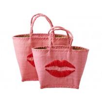 RICE shopping bag kiss pink