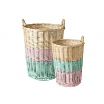RICE Willow basket soft pink mint