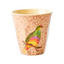 RICE Melamine Cup VINTAGE BIRD nougat