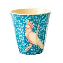 RICE Melamine Cup VINTAGE BIRD blue