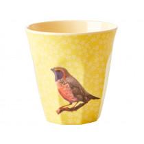 RICE Melamine Cup VINTAGE BIRD yellow