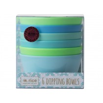 RICE 6 Melamine Dipping Bowls BLUE & GREEN
