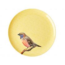 RICE Melamine Dinner Plate VINTAGE BIRD yellow