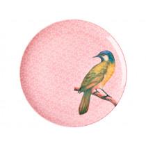 RICE Melamine Dinner Plate VINTAGE BIRD pink